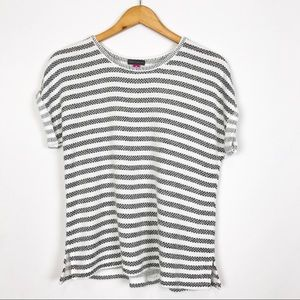 Vince Camuto Black Gray Striped Sweater